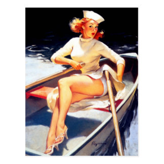 Rowing Pin Up Postcard