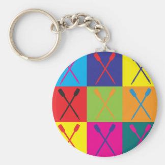 Rowing Pop Art Basic Round Button Keychain