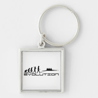 Rowing Rower Water Sport Evolution Art Silver-Colored Square Keychain