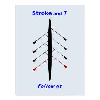 Rowing stroke seven follow us postcard