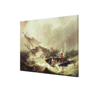 Rowing to rescue shipwrecked canvas print