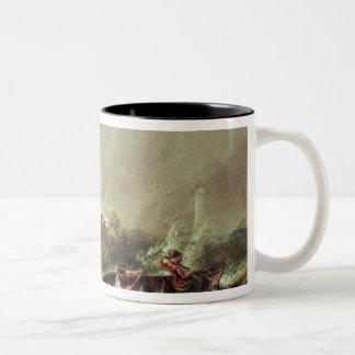 Rowing to rescue shipwrecked Two-Tone coffee mug