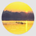 Rowing Training At Sunset Classic Round Sticker