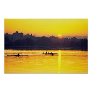 Rowing Training At Sunset Posters