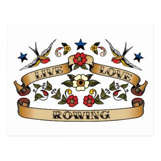 Rowing vivo del amor tarjeta postal
