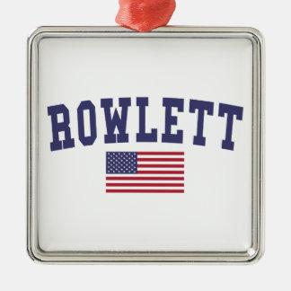 Rowlett US Flag Metal Ornament
