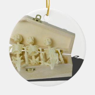 RowofSkeletonsCoffin070515 Ceramic Ornament