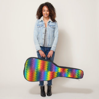 Rows of a Rainbow Fire Guitar Case