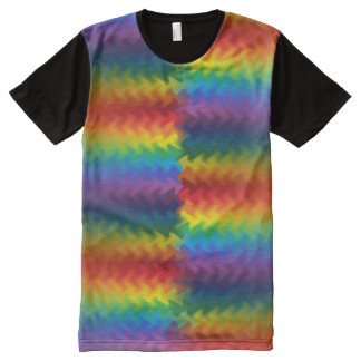 Rows of a Rainbow Fire Panel T-Shirt All-Over Print T-shirt