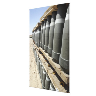Rows of ammunition are stacked and prepped canvas print