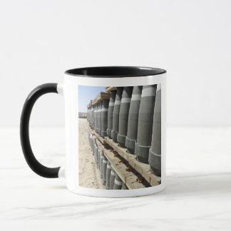 Rows of ammunition are stacked and prepped mug