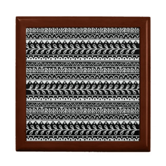Rows of Black and White Doodle Patterns Jewelry Box