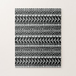 Rows of Black and White Doodle Patterns