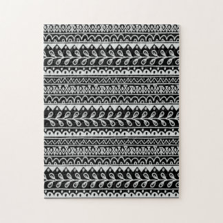 Rows of Black and White Doodle Patterns Jigsaw Puzzle