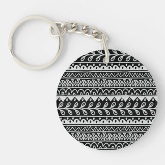 Rows of Black and White Doodle Patterns Keychain