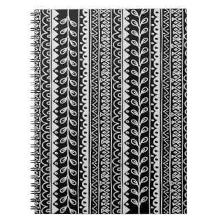 Rows of Black and White Doodle Patterns Notebook