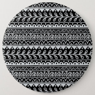 Rows of Black and White Doodle Patterns Pinback Button