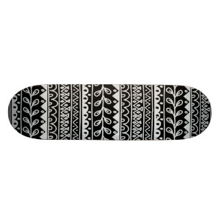 Rows of Black and White Doodle Patterns Skateboard Deck