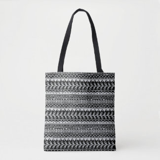 Rows of Black and White Doodle Patterns Tote Bag