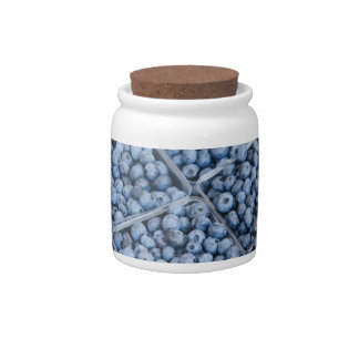Rows of blueberries candy jars