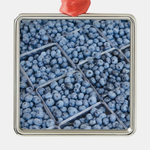 Rows of blueberries square metal christmas ornament