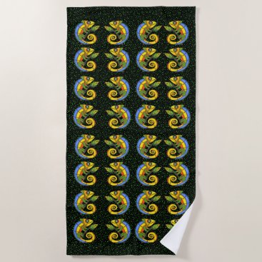 Beach Themed Rows of Bright Colorful Smiling Lizards Green Dots Beach Towel