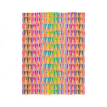 Rows of Colored Pencils Fleece Blanket