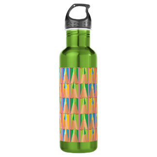 Rows of Colored Pencils Water Bottle