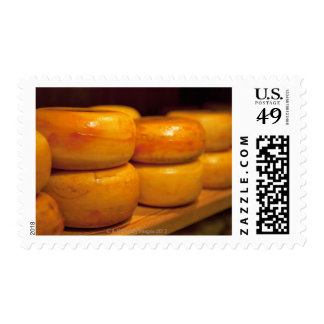 rows of colourful yellow Edam cheeses lined up Postage Stamp