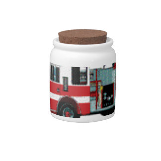 rows of fire engines candy jar