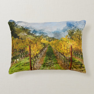 Rows of Grapevines in Napa Valley California Decorative Pillow