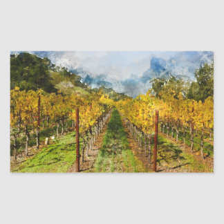 Rows of Grapevines in Napa Valley California Rectangular Sticker