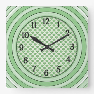 Rows of Hearts of Green Tiles in Offset Pattern Square Wall Clock
