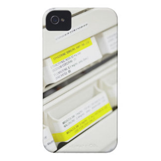 Rows of labeled medicine drawers iPhone 4 Case-Mate case