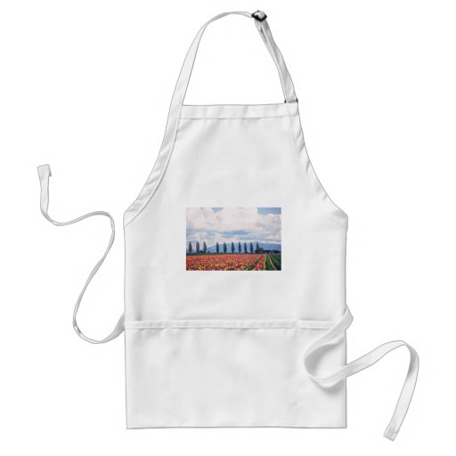 Rows Of Mixed Tulips flowers Apron