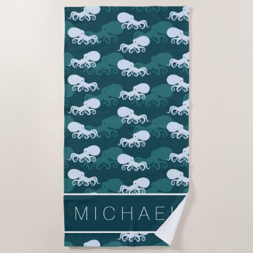 Beach Themed Rows Of Octopus Pattern Beach Towel