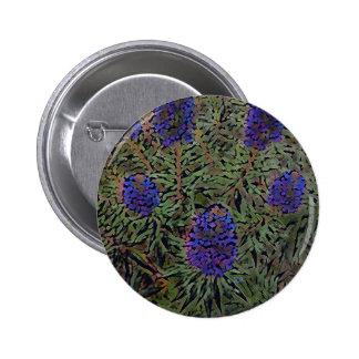 Rows of Purple California Lavender Plant  Del Mar Pinback Button