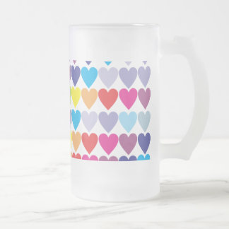Rows of Rainbow Hearts 16 Oz Frosted Glass Beer Mug