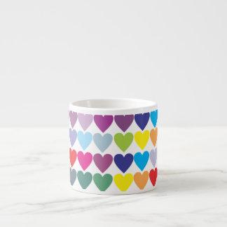 Rows of Rainbow Hearts 6 Oz Ceramic Espresso Cup