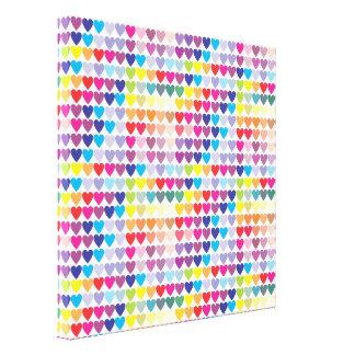 Rows of Rainbow Hearts Canvas Print