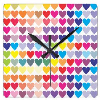 Rows of Rainbow Hearts Square Wallclocks