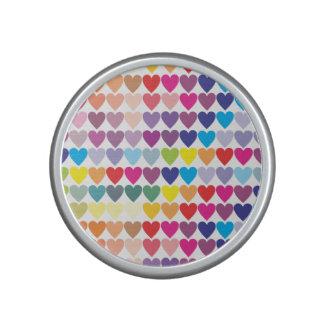 Rows of Rainbow Hearts Bluetooth Speaker