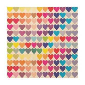 Rows of Rainbow Hearts Wood Wall Art