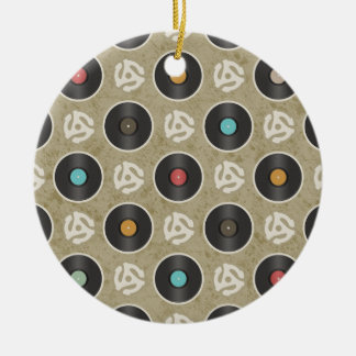 Rows of Records Pattern Ceramic Ornament