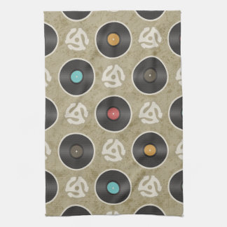 Rows of Records Pattern Kitchen Towels
