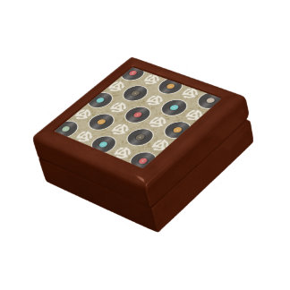 Rows of Records Pattern Trinket Box