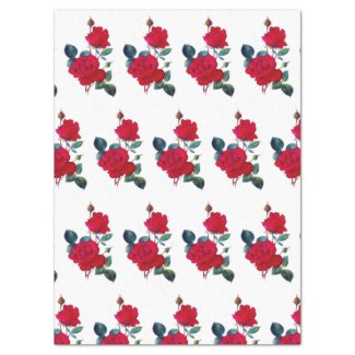 Rows of Red Red Roses Tissue Paper