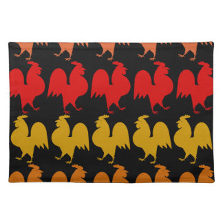 Rows of roosters cloth place mat