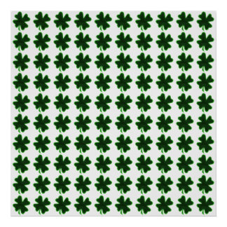 Rows of Shamrocks for St Patrick's Day Poster