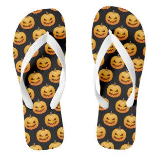 Rows of Spooky Halloween Pumpkins Flip Flops